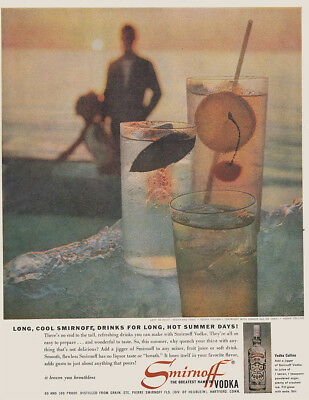 1961 Smirnoff Vodka: Long Cool Smirnoff Drinks for Long Hot Vintage Print Ad