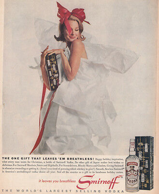 1962 Smirnoff: Gift That Leaves Em Breathless Vintage Print Ad
