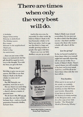 1975 Makers Mark: There Are Times When only the Very Best Vintage Print Ad