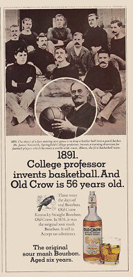 1975 Old Crow Whiskey: College Professor Invents Basketball Vintage Print Ad