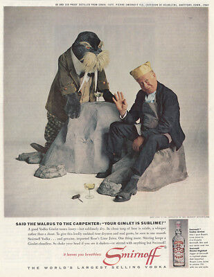 1963 Smirnoff: Said the Walrus to the Carpenter, Bert Lahr Vintage Print Ad