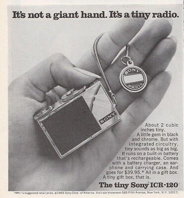 1969 Sony ICR120: Its Not a Giant Hand It's a Tiny Radio Vintage Print Ad