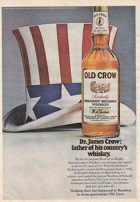 1969 Old Crow: Father Of His Country's Whiskey Vintage Print Ad