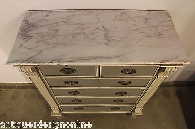 Antique marble top Georgian provincial hand painted chest drawers 1820 french