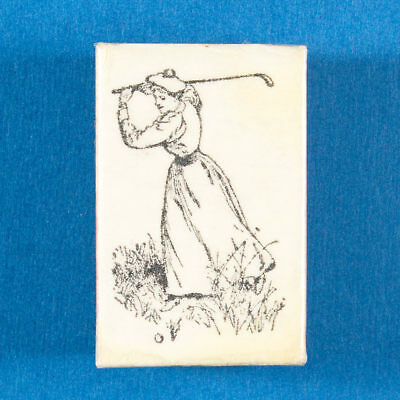 Woman Golfer Rubber Stamp - Lady in Old Fashioned Golf Dress Swinging Club