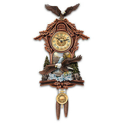 """Moments Of Majesty"" Bald Eagle Handcrafted Wall Clock"