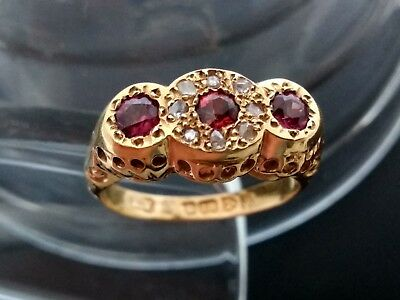 Antique Victorian Or Edwardian 18Ct Gold Garnet And Diamond Ring