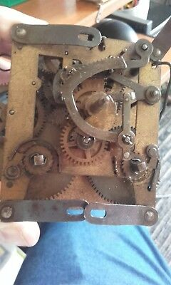 antique mantle clock 2 hole movement half full hour chime