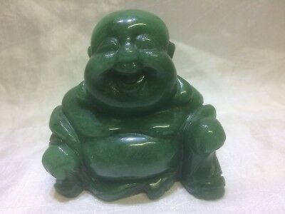 Vintage Jade Smiling Buddha Figurine Dark Green 3 Inches Tall (75mm)