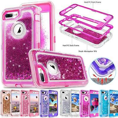 For iPhone 6S Plus 78 Plus X Shockproof Bling Liquid Glitter Silicone Case Cover
