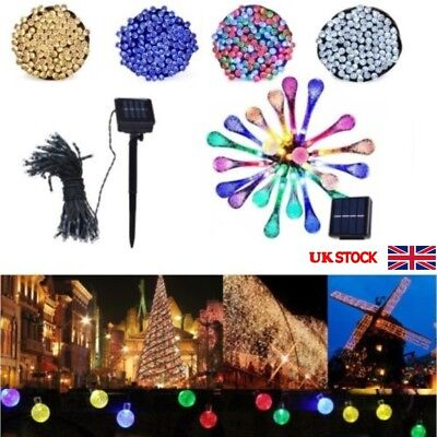 UK 200 LED Set Solar Power Fairy Lights String Garden Outdoor Party Wedding Xmas