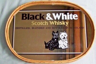 Vintage Black & White Whisky Mirrored Tray- Cane Edge + Matchbook