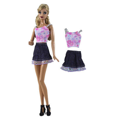 Trendy Pink Braces Top & Denim Skirt for 11inch Doll Clothes Accs