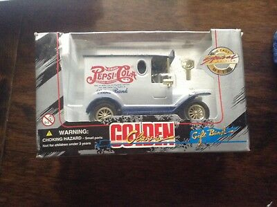 """Pepsi-Cola - Golden Classic - Diecast Coin Bank With Key - 6"""" Long 1996"""