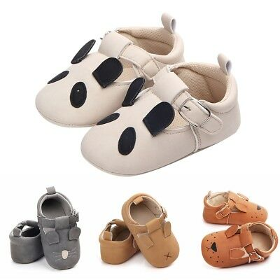 Newborn Baby Girl Soft Sole PU Pram Crib Shoes Anti-slip Sneaker Prewalker 0-18M