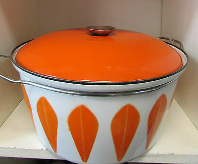Large Cathrineholm Enamel Ware Lotus Pattern Casserolle Dish Crock Pot Orange
