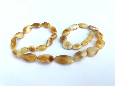 Pure genuine Natural Baltic AMBER stone caramel beads jewelry necklace 19g.#1288