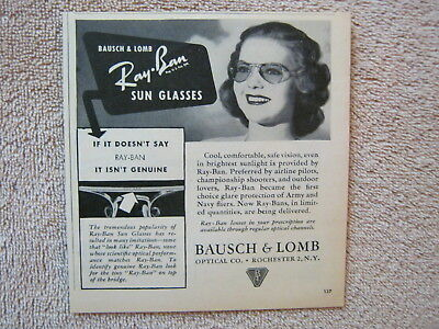 Vintage 1946 Ray-Ban Sun Glasses Cool Comfortable Safe Vision Print Ad