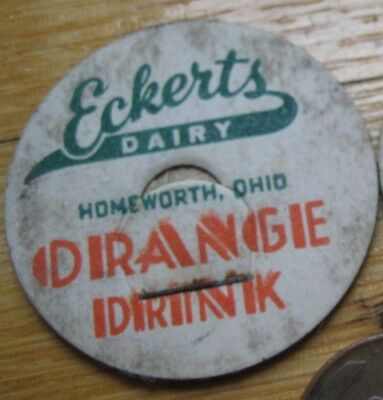 "Homeworth,Ohio milk cap,Eckert's Dairy Orange Drink,Columbiana County,1 1/4""Wide"