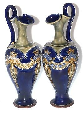 Rare Antique Art Nouveau Royal Doulton Ewers Hand Painted Made Eng Work Art 11""