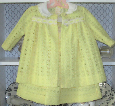Vintage 1950's or 60s baby girl or toddler dress 3 Pc Yellow Bonnet 24 Mo