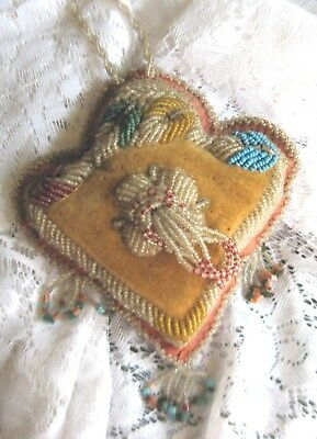 Lovely Ladies Victorian Beaded Glass Pin Cushion~Multi-Colored Leaves & Flower