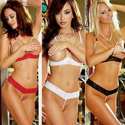 Sexy Erotic Peephole Pearl Bra And Thong Lingerie Set In Various Colours - (541)