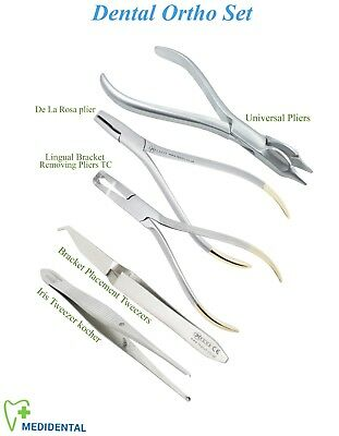 Set of 5 Ortodonzia Iris kocher placement Tweezers Lingual Universal pliers kit