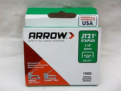 """LOT OF 2"" - 1000 ARROW JT21 STAPLES 1/4"" 6mm 214"