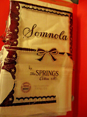 1 PAIR of VINTAGE / ANTIQUE PILLOW CASES SOMNOLA by SPRINGS MILLS TYPE 128