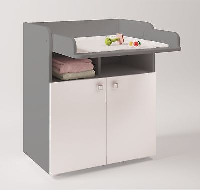 Polini Kids Baby Wickelkommode Wickeltisch Simple 1270 weiß grau, 1316.51