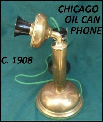 Chicago Oil Can Candlestick Brass Telephone C.1908