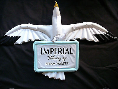 ☆ Vintage HIRAM WALKER Imperial Whiskey ☆ BLOW UP Hanging Stork Bird SIGN AD ☆