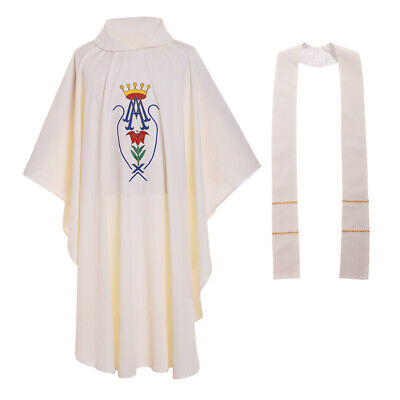 Catholic Church Priest Vestments Chasuble Crown Pattern Embroidery White