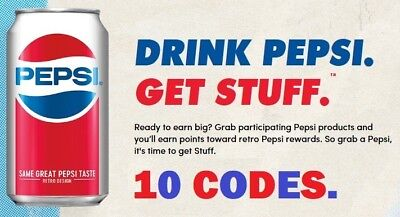 10 codes for the Pepsi Stuff promotion ~ 1 point each code / 10 points total