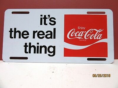 """1969 """"it's the real thing"""" Enjoy Coca-cola metal License Plate - Near Mint"""