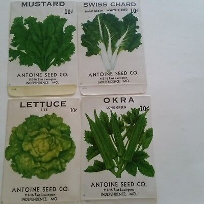 6 Vintage ca1950 unused vegetable seed packets from Blue Springs/Independence MO