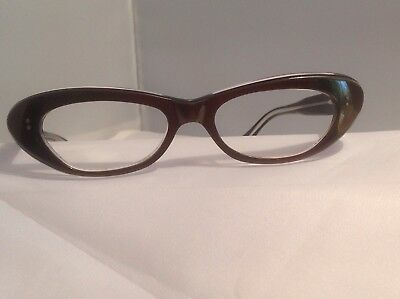Vintage Cat Eye glasses made in France authentic NOS Taupe Frost