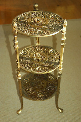 Vintage Art Nouveau Brass 3 Tier Plant Stand Table w/ Cherubs & Claw Foot Feet