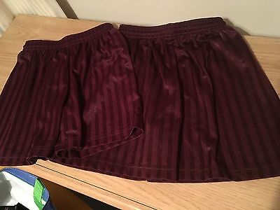 2 PAIRS DARK RED SHADOW STRIPE SPORTS SHORTS. W 26-28 And 30-32