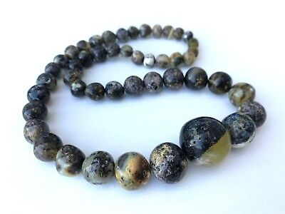 Pure genuine Natural Baltic Amber stone marble beads jewelry necklace 34g.#1244