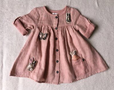 ***BNWT Next baby girl Character 3D Applique pink cotton dress 9-12 months***