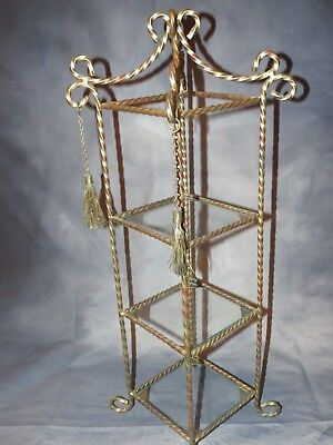 Vintage Brass & Glass 3 Shelf Counter Top Display Stand - Perfume Knick Knacks