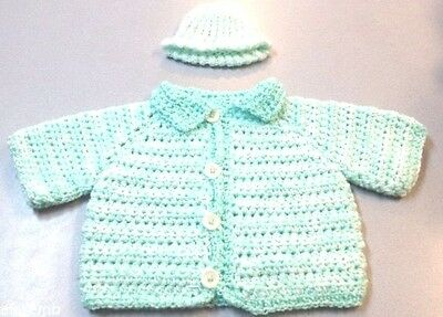 Baby Sweater & Hat Button Front Hand Made Mint Green 3 Month Infant Knit