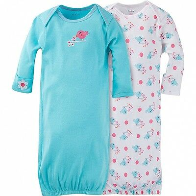 Gerber Baby Girls Size 0-6 Months Lap Shoulder Gown 2 Pack NEW Adorable Birds