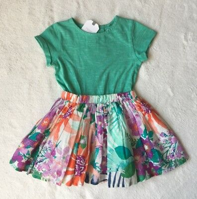 ***BNWT Next baby girl Green Floral cotton dress 12-18 months***