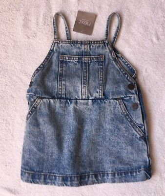 ***BNWT Next baby girl Blue denim pinafore dress 6-9 months***