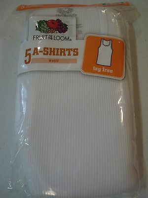 Fruit of the Loom Boys 5 Pack A Shirts NEW Size 6-8 Small White Tanks