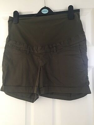 H&M khaki Over Bump Chino Maternity Shorts Size 12 Excellent Condition
