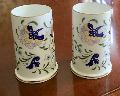 Coalport Set of 2 Spill Vases in Pageant Pattern Hand Painted from England